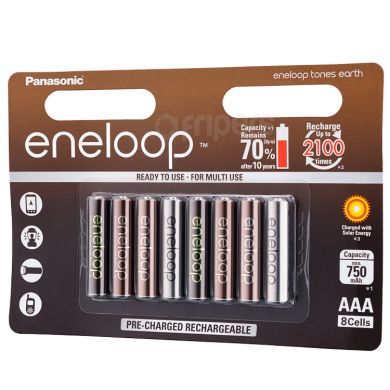 Rechageable Batteries Eneloop Tones Earth 800mAh 8x R3/AAA